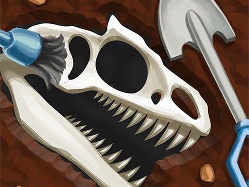Игра копания костей динозавра