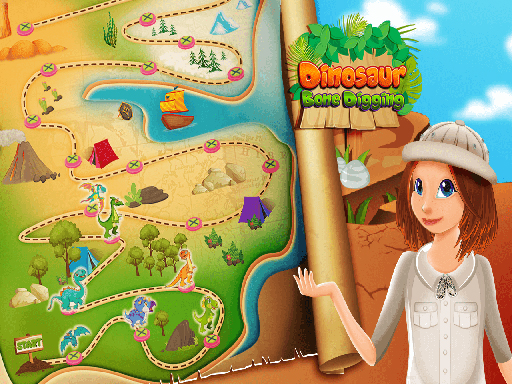 Play Nastya Dinosaur Bone Digging Games
