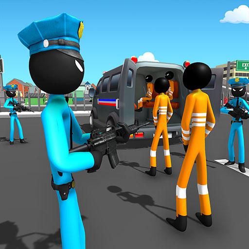 US Police Stickman Criminal Plane Transporter Game
