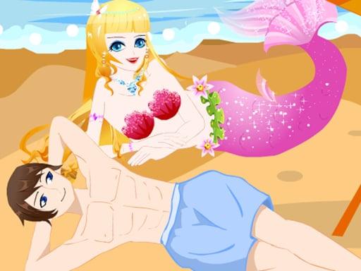 Любовник русалки на пляже
