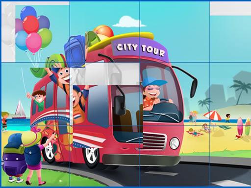 Play Kids and Vehicles Jigsaw